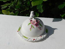 New Fitz and Floyd Cherry Blossoms Butter Dish 2 Piece w/ Bird Great Gift !
