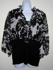 INC INTERNATIONAL CONCEPTS WOMAN TOP BLOUSE BLACK WHITE 100% SILK PLUS 18W NWOT!