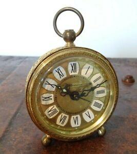 Vintage 1960's Blessing Filigree Shaped Brass Pocket Alarm Clock (Time Winding)