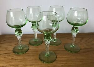 VINTAGE Green Glass Wine Glasses With Ornate Decorative Stems.Set Of 5