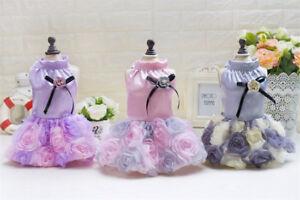 Dog Puppy Dress - Luxurious Satin Rose Formal Dress - Pink Purple or Grey