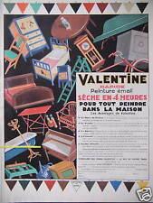 PUBLICITE 1929 VALENTINE PAPIER PEINTURE ÉMAIL POUR TOUT PEINDRE DANS LA MAISON