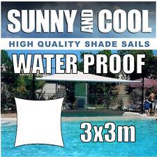 WATERPROOF SHADE SAIL-3Mx3M SQUARE IN CREAM 3x3m