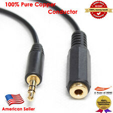 Gold 25FT Stereo Headphone 3.5 mm Male/Female Audio Extension Cable, Black