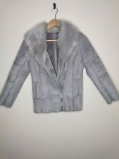 F&F girls biker coat faux suede/fur grey size 9-10 years old