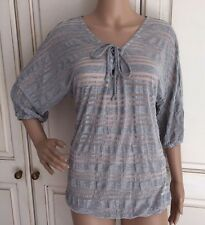 NEW EX FRENCH CONNECTION STRIPE TOP WHITE NAVY GREY / SILVER STRIPE 10 - 14