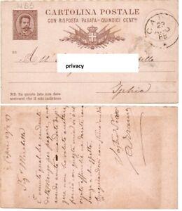 1889 Umberto I Intero Postale 15 centesimi da CAPRI ad ISCHIA millesimo 88