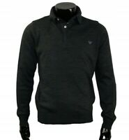 Armani Jeans New Men's Polo Neck Jumper Anthracite Melange Sweater Rib Trim BNWT