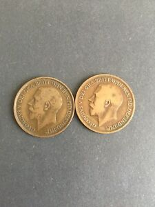 Penny X 2 George V. 1912H & 1919H