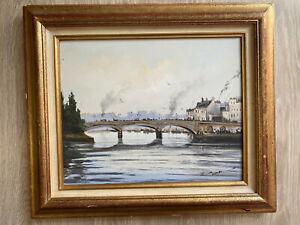 tableau Serge CUCCA né en 1946 vue d'une ville avec Fleuve Paris Rouen Italie ?
