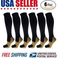 6 Pairs Compression Socks 20-30mmHg Graduated Men Women Sport Socks S-XXL