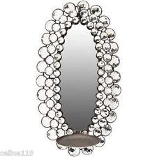 Silver Bling Oval Mirror Sconce Acrylic Unique Design Home Candle Plate Gemstone