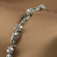 18k white gold gf made with SWAROVSKI crystal wedding chain filigree bracelet