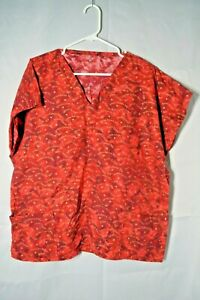 Women's Extra Large Red Jesus Loves Me Gold Heart Cap Sleeve Scrub Top