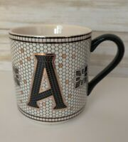 Anthropologie Gold Black Margot Mosaic Tile Letter A Initial Monogram Coffee Mug