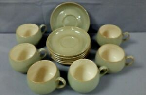 Denby Stoneware Twelve Piece Coffee Cups & Saucers Set Green