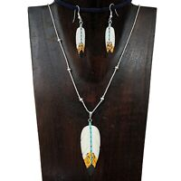 Liquid Silver Carved Painted Spirit Feather Pendant Necklace Earring Set