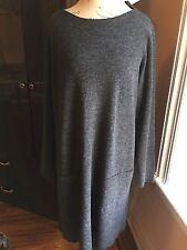 NWT $228 Eileen Fisher Charcoal Drapey Wool Boucle Bateau Neck Tunic Dress M
