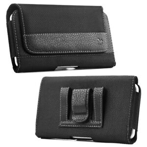 Leather Belt Clip Holster Pouch Horizontal Phone Holder Luxmo Black