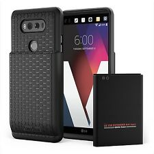 LG V20 Case Extended Battery 6600mAh Power Screen Protector ShockProof Black New