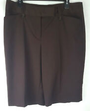 Worthington Womens Size 14 Cropped Dress Pants Modern Fit Brown Stretch New