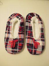 Skidders Black Red Plaid Plush Sherpa Non Skid Slipper Socks~M-L Shoe Size 8-9