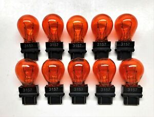 3157 10 Bulb Lot Amber Dual Filament Bulbs Lamp Bulk 10 Pack - FAST USA Ship