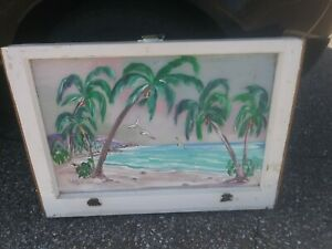 Artist Signed Vintage Sash Window 28x20 Beach Scene Palm trees & Seagulls