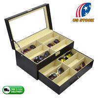 8/12 Slot Eyeglasses Sunglasses Box Organizer Display Case Compartments Black