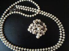 Dyrberg Kern Danish designer vintage faux pearl necklace and pendant brooch set
