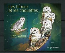Togo 2015 MNH Owls 1v S/S Birds of Prey Hiboux Chouettes Stamps