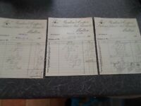 3 OLD  Vintage Invoices BOULTON+COOPER Auctioneers, Malton Dated 1905   §CB3