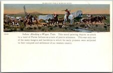 """1910s Milwaukee Public Museum Postcard """"Indians Attacking a Wagon Train"""" Mural"""