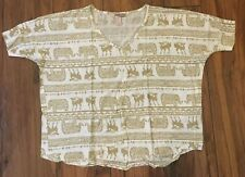 FOREVER 21 ELEPHANT DEER PRINT TOP SIZE M