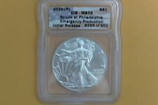 2020 (P) SILVER AMERICAN EAGLE $1 ICG MS70 EMERGENCY INITIAL RELEASE