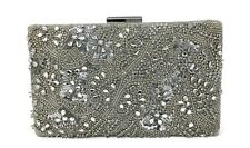 Glint Floral Crystal Silver Clutch Evening Bag MSRP $86
