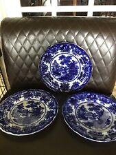 """3 W. Adams & Co. Flow Blue 10.5"""" Dinner Plates, Fairy Villas Pattern Deep blue"""