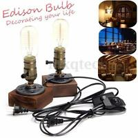E27 Industrial Vintage Edison Wooden Socket Desk Light Bulb Table Lamp Dimmable