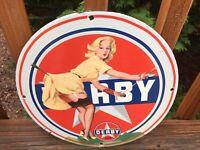 """Vintage Derby Gasoline Heavy Porcelain Gas & Oil Sign 12"""""""