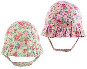Baby Sun Hat With Chin Strap Girls Bucket Hats Frilly Brim Floral Newborn 0-3 M