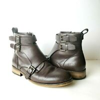Guess Mens Size 9.5 GMRavish Ankle Boots Zipper Buckle Brown Faux Leather