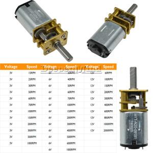 DC 3V/6V/12V GA12-N20 Micro Gear Motor Metal Gearbox 15/25/30/60/100/200/2000RPM