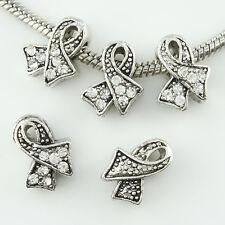 5 pieces Czech Crystal Tibetan Silver Ribbon Charm Beads for European Bracelet