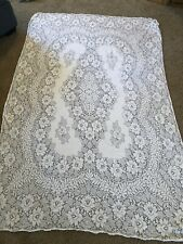"Vintage QUAKER LACE Tablecloth Dinner Cloth 70"" X 90"""