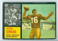 Norm Snead RC 1962 Topps '62 NFL Rookie Card #164 EX Washington Redskins