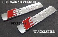 COPPIA STEMMA LOGO FREGIO TARGA AUDI S-LINE SLINE A1 A3 A4 A5 A6 A7 TT Q3 Q5.
