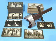Stereo Viewer w/162 Real Photo Cards San Fran Earthquake NY St Louis Yosemite +