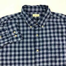 Sonoma Button Up Shirt Mens XL Navy White Long Sleeve 100% Cotton Check Pocket