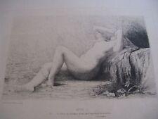 "BELLE EAU-FORTE ORIGINALE DE JULES LEFEBVRE ""REVE"" 1877 OSSIAN NU ROME / Vergé"
