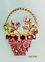Vintage Austrian Crystal Flower Basket Bouquet Brooch Gold Tone Rhinestones Pin